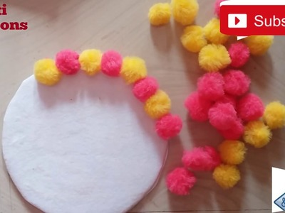 Wall decoration ideas no.2.How to decorate Bedroom wall with Pom Poms.DIY wall decorate craft work