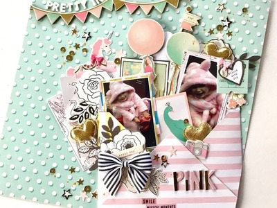12x12 Scrapbook Process - #94 Pretty In Pink
