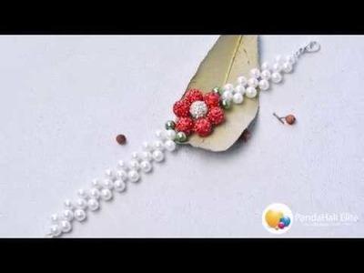 Beebeecraft tutorials on how to make shining flower bracelet with pearl beads and pave disco beads