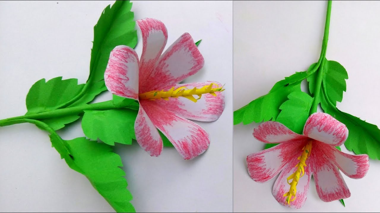Crepe Paper Hibiscus Flower Easy How To Make Crepe Paper Hibiscus