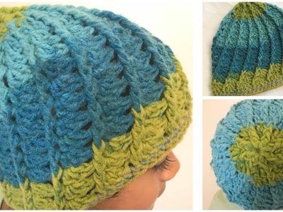 Crochet 4 to 5 years old girls spiral hat.beanie - English version