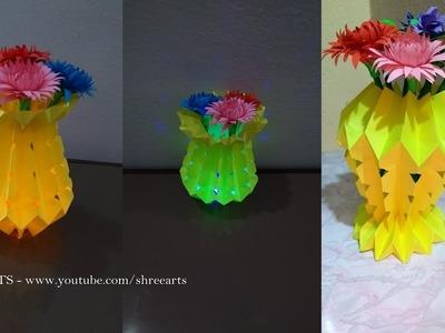 DIY Awesome  LED paper flower vase   How to make    Shree Arts