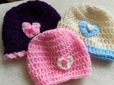 Easy crochet baby beanie hat tutorial