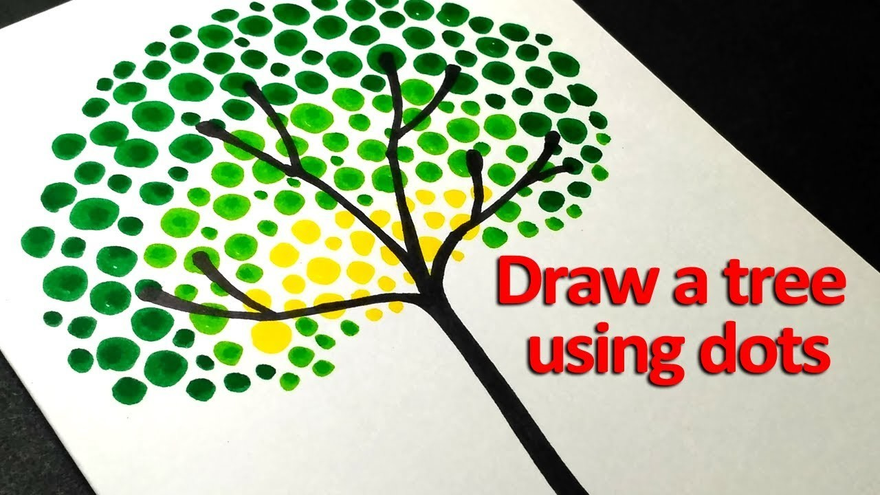 How To Draw Tree For Kids Dot Painting Art Easy