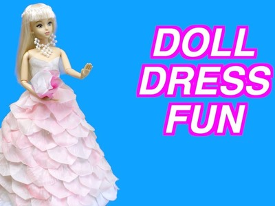 How to Make a Beautiful Doll Dress from Pink Flower Petals | Doll Dress Fun