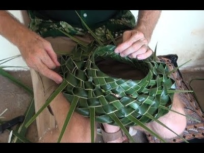 How to make an Open-top Hat from Coconut Leaf!