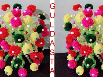 How to make Flower Vase with Wool (Best Idea 2018).Guldasta with plastic bottle.Creative Art