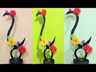 How to make s shaped showpiece with cardboard | fabric carry bags | ear buds | balls | beads
