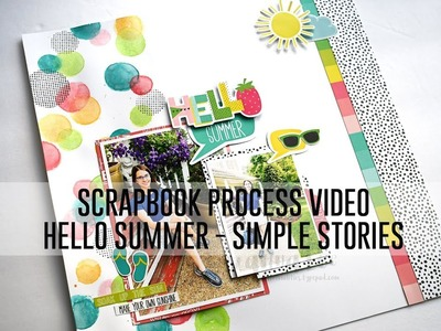 Scrapbook Process Video - Hello Summer (Simple Stories. Mixed Media)