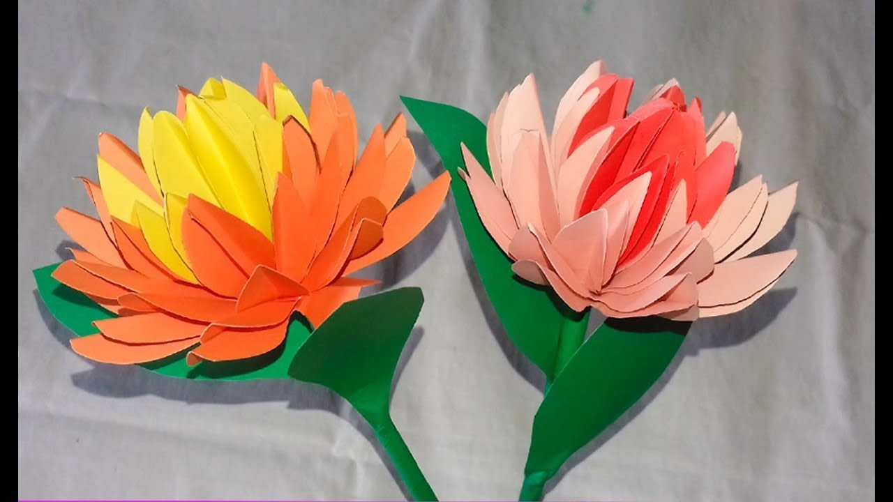 Beautiful stick flower making with colour paperstick simple paper beautiful stick flower making with colour paperstick simple paper flower mightylinksfo