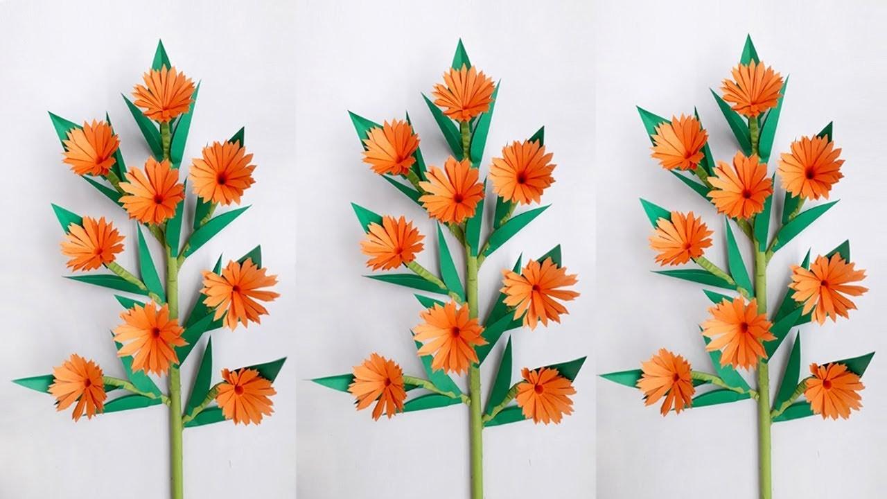 DIY: Flower Stick.Paper Stick.DIY Paper Flowers.DIY Flower Stick Ideas With Colour Paper
