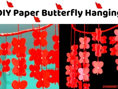 DIY Room Decor Ideas    Paper Butterfly Hanging Decoration    Make Paper Butterfly   