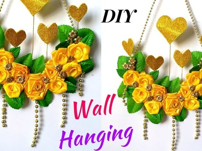 DIY: Satin Ribbon Rose Wall Hanging Design!! How to Make Wall Hanging Craft at Home !