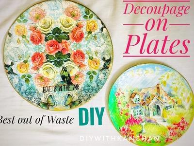 How to decoupage plates | Melamine plate DIY |  reuse old plates | Decoupage on melamine | decpupahe