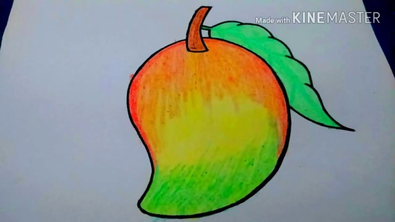 How To Draw Colorful Mango Step By Step For Kids Easy Mango Drawing