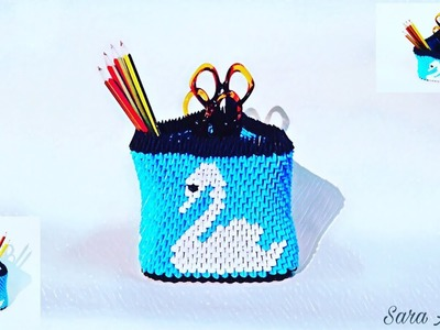 How to make 3d origami pen holder 52 - of paper - very easy