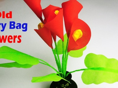 How To Make Calla Lily Flower Out Of Shopping Bag