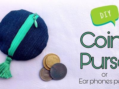 How to make COIN PURSE in less than 5mins | diy earphones purse.holder || DA hobbies-diy