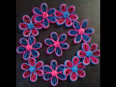 How to make comb flowers ,Quilling flowers using a comb, EASY STEP