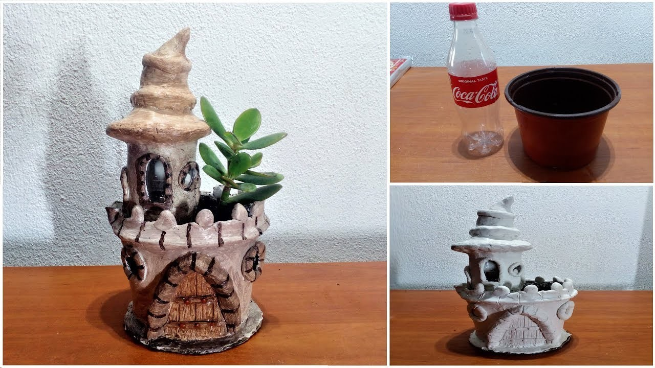 How to make Fairy castle out of flower pot for Jade plant