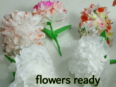 How to make flower at tissue paper. டிஷ்யூ பேப்பரில் பூக்கள் செய்வது எப்படி