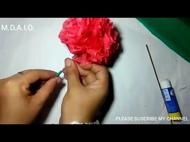 How to make round tissue paper flower diy paper craft youtube mightylinksfo