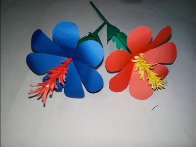 How to Make Stick Flowers Making with Color Paper   Stick কাগজ দিয়ে জবা ফুল বানানো