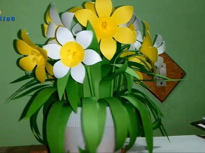 How to Make Table Top Paper Flower Vase Tutorial #linascraftclub