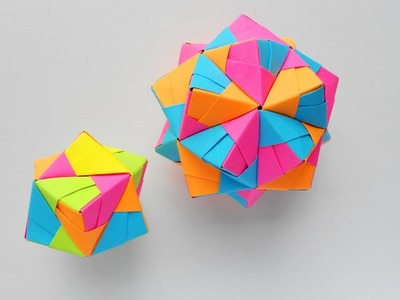 Origami Sonobe Octahedral Unit. How to make paper polyhedrons