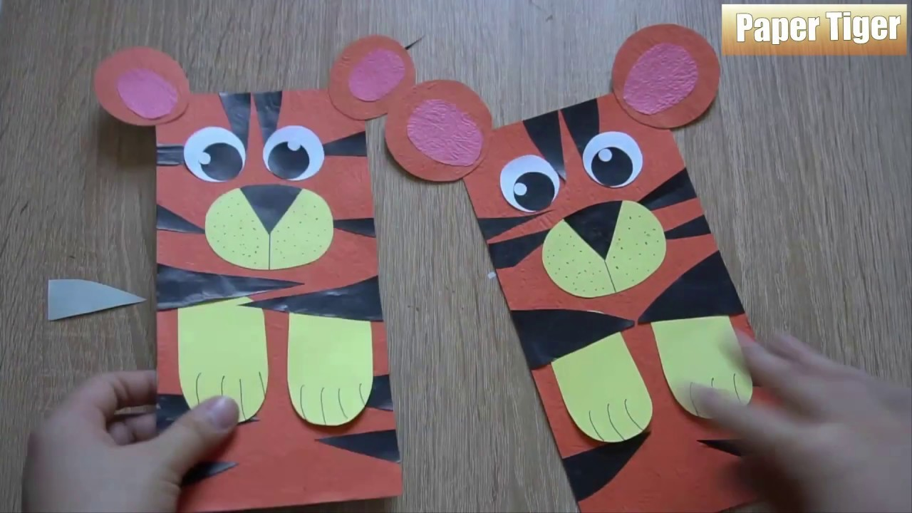 Paper Bag Tiger Puppet ||  How To Make A Paper  Tiger || Art Cutting Paper Tiger