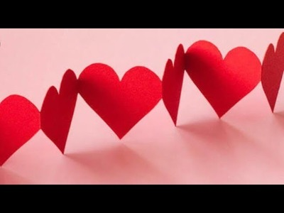 Paper heart design l how to make heart chain l room decor ideas l easy heart chain by crafts craze