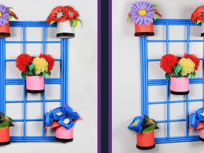 Wall Decoration Idea: How to make a decorative flower vase for wall decor | Toilet paper roll crafts