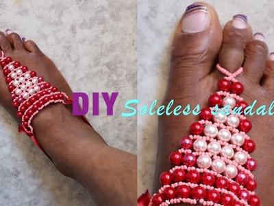 DIY Beaded Barefoot sandal. Soleless sandal #34