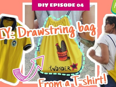 DIY: Drawstring Bag from a T-Shirt (in Hindi) | with English Subtitle | Kohl Karmakar