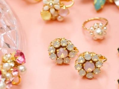 DIY: Gorgeous Bijou Jewelry Earrings*DIYアクセ♡並べるだけで簡単イヤリング
