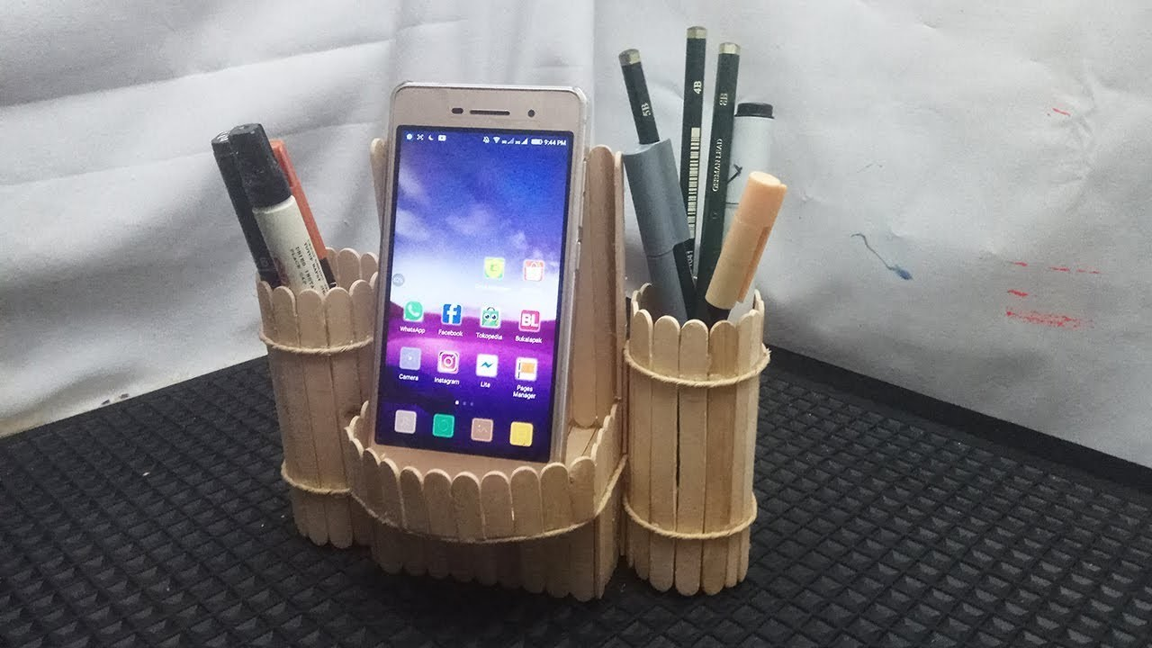 Diy Pen Stand And Mobile Phone Holder Using Ice Cream Stick