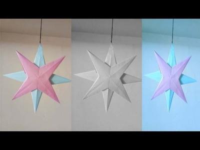 How to make diy craft hanging paper star |  कागज़ के स्टार बनाइये