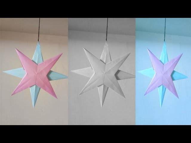 How to make diy craft hanging paper star    कागज़ के स्टार बनाइये