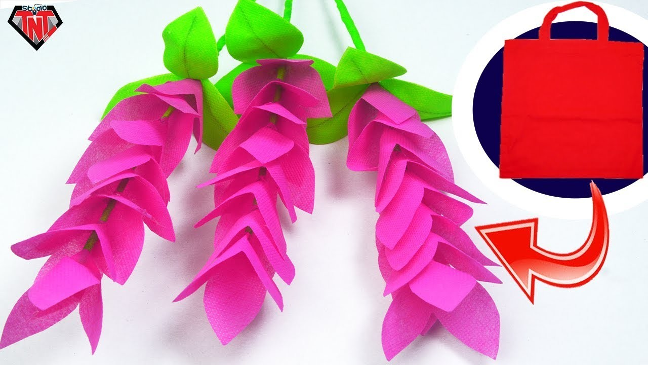 How To Make Shopping Bags Ginger Flower || Best out of Waste Flower Crafts