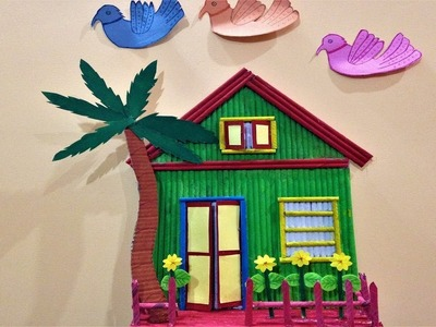 How to make wall hanging house | wall decoration ideas | best out of waste ideas | diy