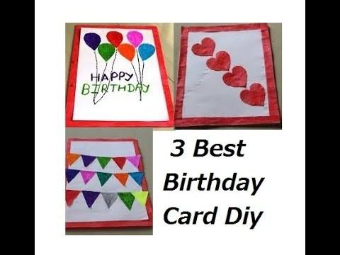 Diy 3 Cute And Easy Birthday Card Handmade Birthday Card Idea
