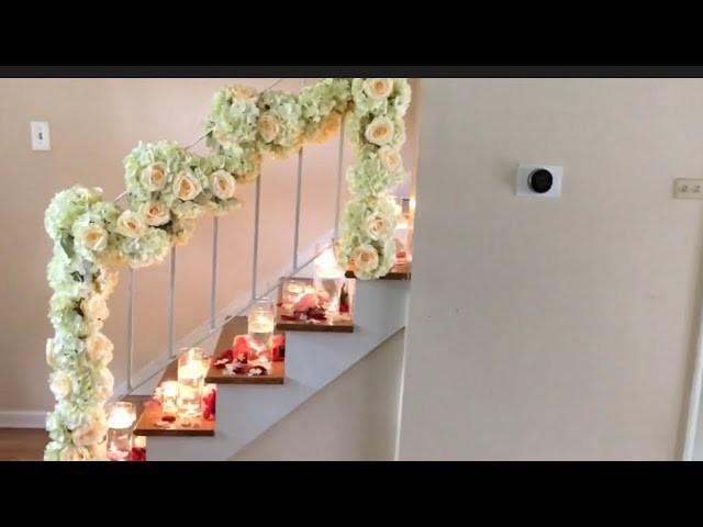 DIY- dollar tree staircase floral decor, DIY- wedding decor |floral ...