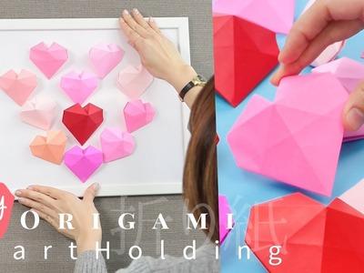 DIY  Easy Origami Heart Folding*ハートアートでお部屋を模様替え!壁から優しい温もりが届く