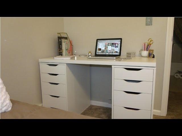 diy ikea makeup vanity desk and storage roxy tyrell. Black Bedroom Furniture Sets. Home Design Ideas