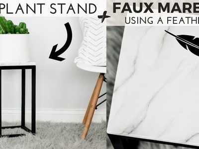 DIY Modern Plant stand + DIY White Marble Effect + EASY Plant stand