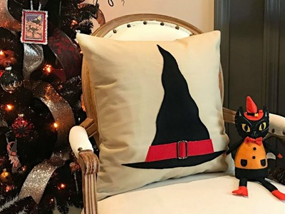 Halloween Decorating - Witch Hat Halloween Throw Pillow Cover - Easy DIY Crafts - No-Sew