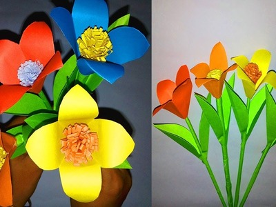 How to make stick paper flower | Easy origami flowers | DIY Paper Flowers Tutorial-FlowerUpc