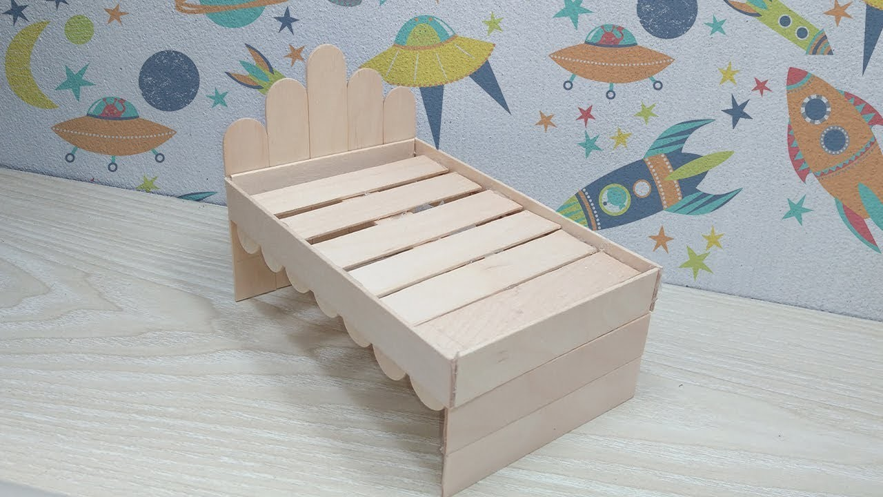How to Make Wooden Doll Bed Using Popsicle Stick, DIY Ice