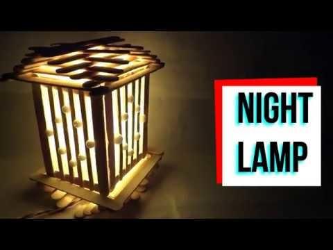 Night Lamp Of Ice Cream Sticks Easy Craft Diy Home Decorative Art