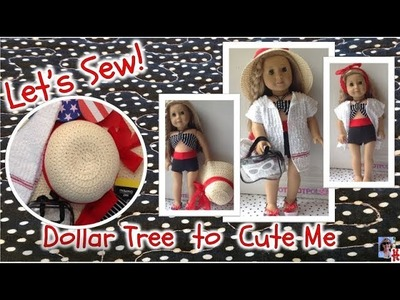 Beach outfit American Girl doll, sewing with Dollar Tree items, easy